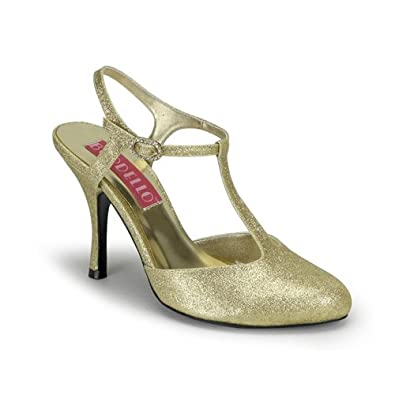 3 1/2 Inch Heel Gold Glitter Sandal Pump Shoes Sexy High Heel T-Strap Shoes Size: 9
