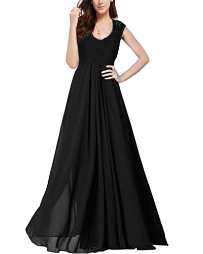 OFTEN Women's Chiffon Bridesmaid Deep-V Neck Sleeveless Vintage Maxi Dress