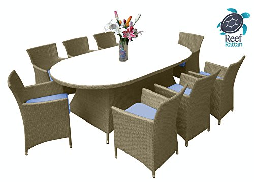 Reef Rattan Montserrat 9 Pc Dining Set - Natural Rattan / Blue Cushions image