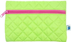 Quilted Cosmetic Bag - Lime/Hot Pink - By Threadart from Threadart