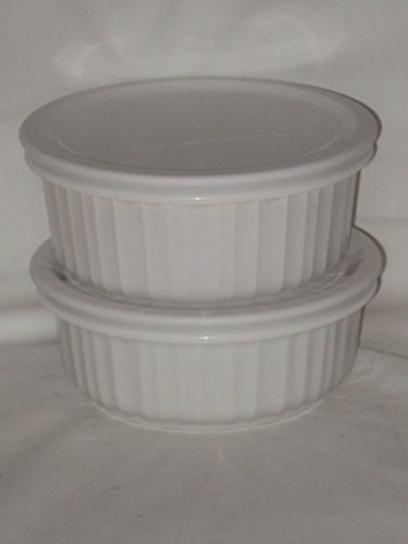 4 Piece Set - Corning French White Round 500ml - 16 oz. Casserole Baking Dishes w/ Plastic Lid (Corning Casserole Dish Sets compare prices)