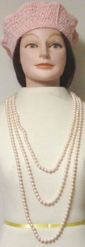 Hand Crocheted Pink Chenille and Gimp Beret Offered with Set of Two Very Long Seventy Inches Shown As Two Strand and Forty Five Inches Simulated Light Pink Pearls Necklace