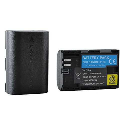 LP-E6 Battery for Canon EOS 80D 70D 60D 6D 7D Mark III Mark II Digital SLR and DSLR Cannon Cameras BG-E14 BG-E13 BG-E11 BG-E9 Grips Charger LC-E6 (Pack of 2) (Battery Canon 7d compare prices)