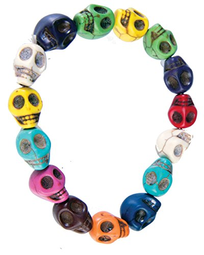 Day Of The Dead Multi Colored Skeleton Skull Bracelet Costume Accessory