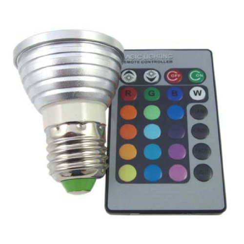 Bloomwin 1 X E27 Led Rgb Color Changing Light Bulb + Remote Control 4W 16 Colors Ac 110V 60 Degree Beam Angle Ref: L0154