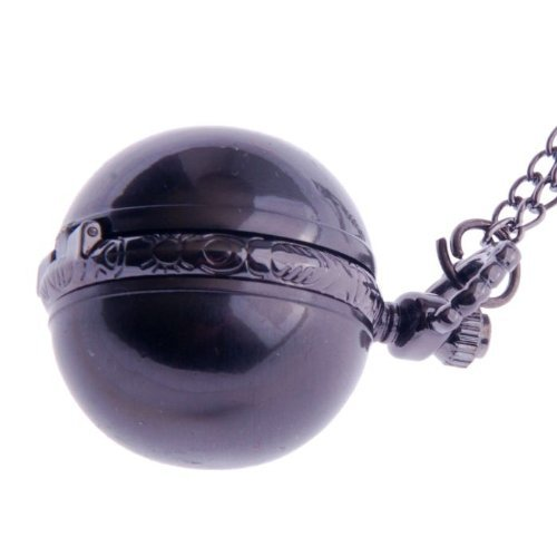 Pendant Pocket Watch Necklace Quartz Small Face White Dial Vintage Globe Design PW-64