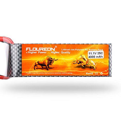 Floureon 3S1P 11.1V 4000mAh 25C LiPo Battery Pack with Deans Plug for RC Evader BX Car, RC Truck, RC Truggy RC Airplane UAV Drone FPV (3 Cell Lipo Battery Deans Plug compare prices)