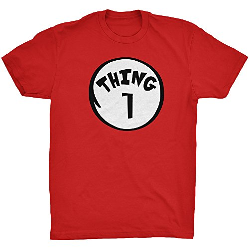Thing 1 Adult Unisex T-shirt Family Couple Halloween Costume Dr.Cat Tee Red XXX-Large (Good Costumes For Couples)