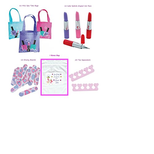 Girl's Spa Party Favors (12 Tote Bags, 12 Lipstick tube shaped Ink Pens, 24 Toe Separators, 12 Emery Boards) (Nail Polish Favors compare prices)