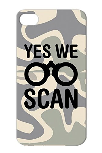 Yes We Scan Usa Funny Scandal Binoculars Spy Symbol Britain Trendy Shirt Satire Vector Trend Protective Case For Iphone 4 Black Scratch-Resistant