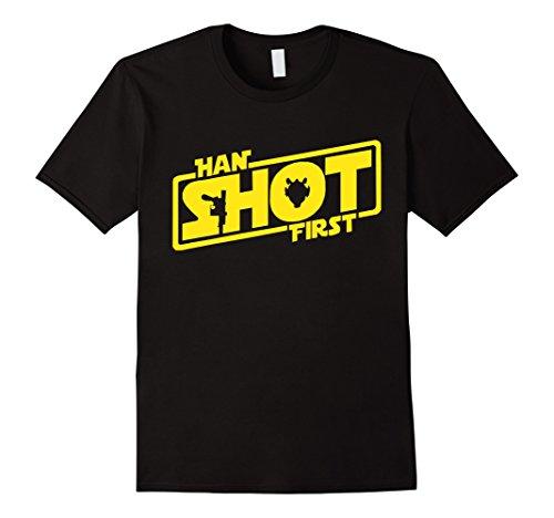 Men's Han Shot First T-shirt - SW 1977 Fans Premium T-shirt Large Black