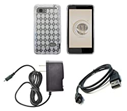 HTC Vivid (AT&T) Premium Combo Pack - Clear Thermoplastic Polyurethane TPU Argyle Pattern Case Cover + ATOM LED Keychain Light + Micro USB Cable + Wall Charger