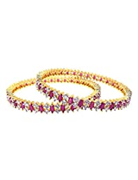 Aabhushan Jewels Ruby Look Gold Plated American Diamond Bangles For Women - B00WUE8XIU