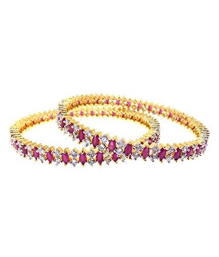 Aabhushan Jewels Ruby Look Gold Plated American Diamond Bangles For Women - B00WUE8XIU