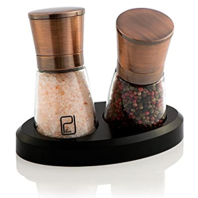 Premium Salt and Pepper Mill Set with Stand - Copper Stainless Steel Salt and Pepper Shakers - Ceramic Spice Grinder Adjustable Coarseness - Salt and Pepper Grinders with Magnetic lid