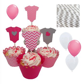 Piece Of Cake Parties Baby Shower In A Box, Pretty In Pink Onesie front-23065