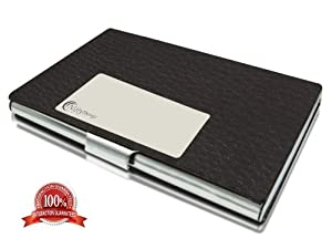 Business Card Holder - Luxury Business Name, Multi Card Case - Black Leather & Stainless Steel (Silver Metal) For Men & Women - Latest Design In Stylish Gift Box - No More Dog-eared Business Cards - Feel Instantly Professional & Successful - Lifetime Replacement Guarantee