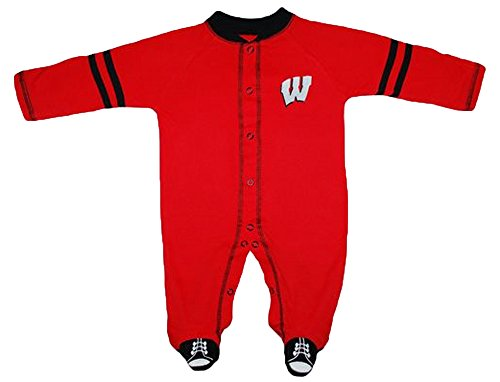Wisconsin Badgers NCAA College Newborn Baby Long Sleeve Footed Romper