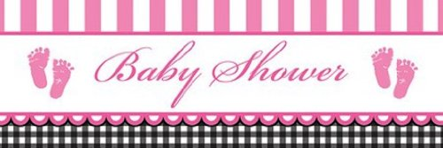 Creative Converting Sweet Baby Feet Pink Giant Baby Shower Banner