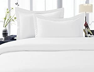 Celine Linen ® Wrinkle & Fade Resistant 1500 Series ULTRA SOFT LUXURIOUS 3-Piece Duvet Cover Set, Solid, Full/Queen, White