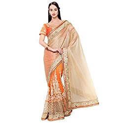 Suchi Fashion Orange Lycra And Net Embroidered Wedding Saree