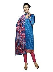 Parisha Chanderi Silk Blue Women's Straight Suit 4DRC51003