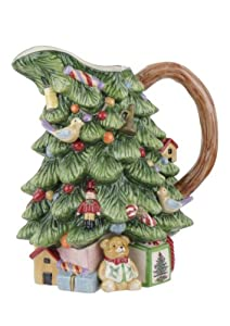 #!Cheap Spode Christmas Tree Sculpted Christmas Tree Shaped Pitcher, 8-Inch
