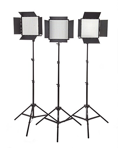 Studiopro Triple 600 S-600D Daylight Barndoor Led Photography Lighting Panel And Light Stand Kit, Continuous Daylight, Photo Studio Video Film Lighting Kit