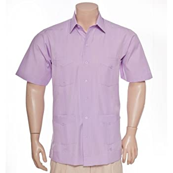 Deluxe Short Sleeve Lavender Stripes Guayabera by Mycubanstore