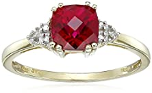buy 10K Yellow Gold, July Birthstone, Created Ruby And Diamond Ring, Size 6