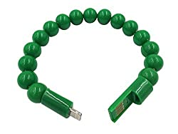 KARP Creative Beads Bracelet Charger Cable Lightning 8 Pin USB Interface Charging Cable for iPhone 6 5 5S 5C, iPad mini, iPod Nano (7th generation) iPod touch (5th Generation) (Green)