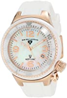 Swiss Legend Women's 11844-WWRA Neptune White Mother-Of-Pearl Dial Silicone Watch with Ceramic Case from Swiss Legend