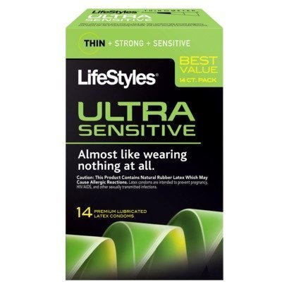 Lifestyles Ultra Sensitive 14 Premium Lubricated Latex Condoms Thin