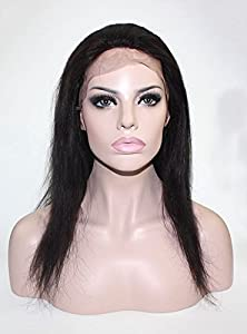 Lordhair 100% Indian Hair Lace Front Wig Lace Wig Straight Wig (14, #1b)