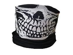 Multifunction Neckwarmer, Snood, Hat, Scarf and Hood in Black with skull print by Monogram