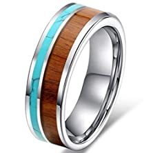 buy Mens Womens 8Mm Tungsten Ring Vintage Wedding Engagement Band With 100% Koa Wood Solid Turquoise Flat Top Size 10