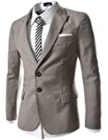 TheLees Mens casual peak lapels 2 button Jacket