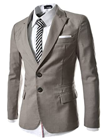 TheLees Mens casual peak lapels 2 button jacket blazer Beige Large(US Medium)