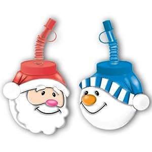 Amscan international ltd gobelet p re no l ou bonhomme de neige en plastique avec couvercle et - Bonhomme de neige gobelet plastique ...