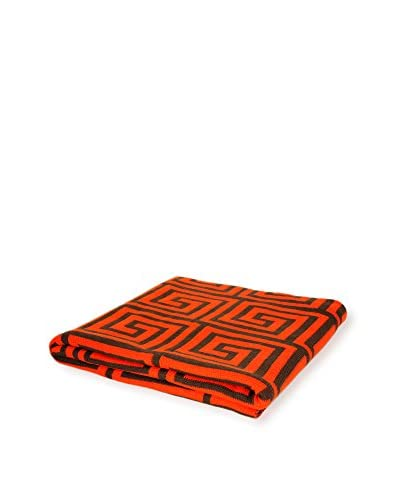 PÜR Cashmere Jacquard Greek Key Pattern Throw, Celosia Orange
