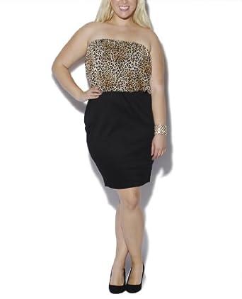 Wet Seal Women's Tube Bodycon 2Fer Leopard Dress 2X Black