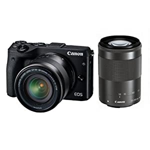 Canon EOS M3 Double Lens Kit 18-55mm f/3.5-5.6 IS STM + EF-M 55-200mm f/4.5-6.3 IS STM (Black) International Model No Warranty