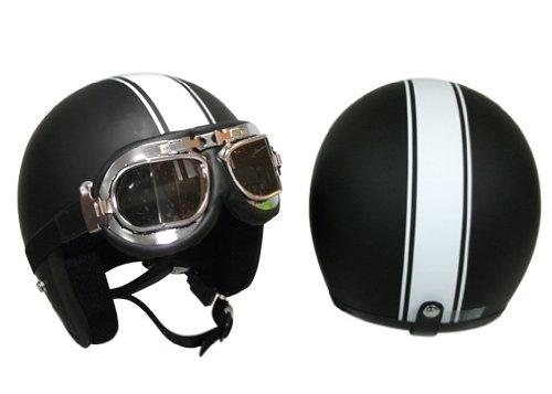 Viper RS-04 Cruise Matt Black Motorbike Open Face Helmet (With Goggles) XL (61-62 Cm)