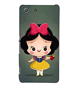 Cute Girl with Red apple in hand 3D Hard Polycarbonate Designer Back Case Cover for Sony Xperia M5 Dual :: Sony Xperia M5 E5633 E5643 E5663