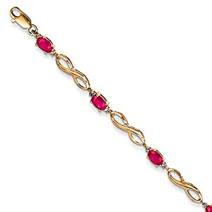 14K Yellow Gold Diamond and African Ruby Bracelet, 7 inches, Beautiful Bracelets For Women