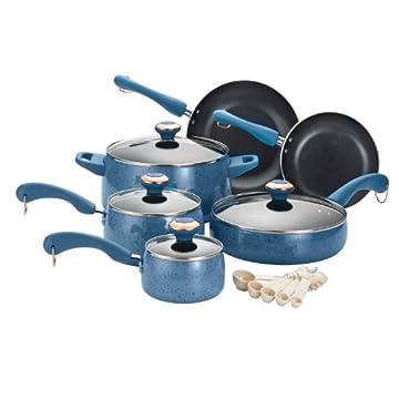 Paula Deen Signature Porcelain Nonstick 15-Piece Cookware Set (Blueberry Speckle)