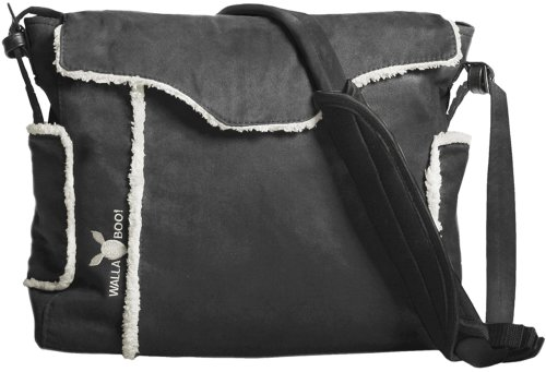 Wallaboo Essential Diaper Bag Durable Faux Suede, Baby Black