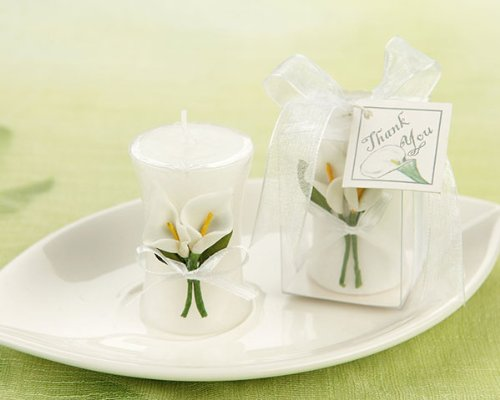Calla Lily Elegance' Vase Shaped Candle - Baby Shower Gifts & Wedding Favors