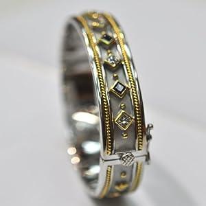 18kt White & Yellow Gold Hand Made Diamond & Sapphire Bangel