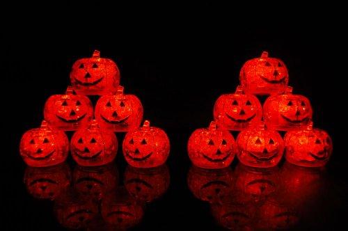 Set Of 12 Litecubes Brand Light Up Led Ice Cubes Pumpkin Jack O Lantern